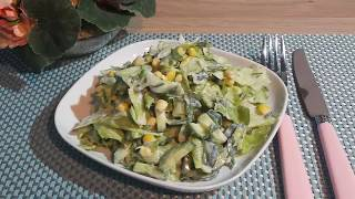 "Салат  с Кукурузой и  Огурцами. Без Майонеза / Вкусный, легкий салат ""ЛАУРА"""