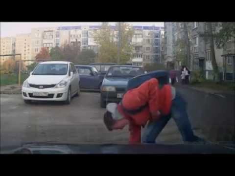 Детектор движения на регистраторе запечатлел казус))))