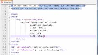 XHTML and CSS Tutorial - 36 - Absolute Positioning