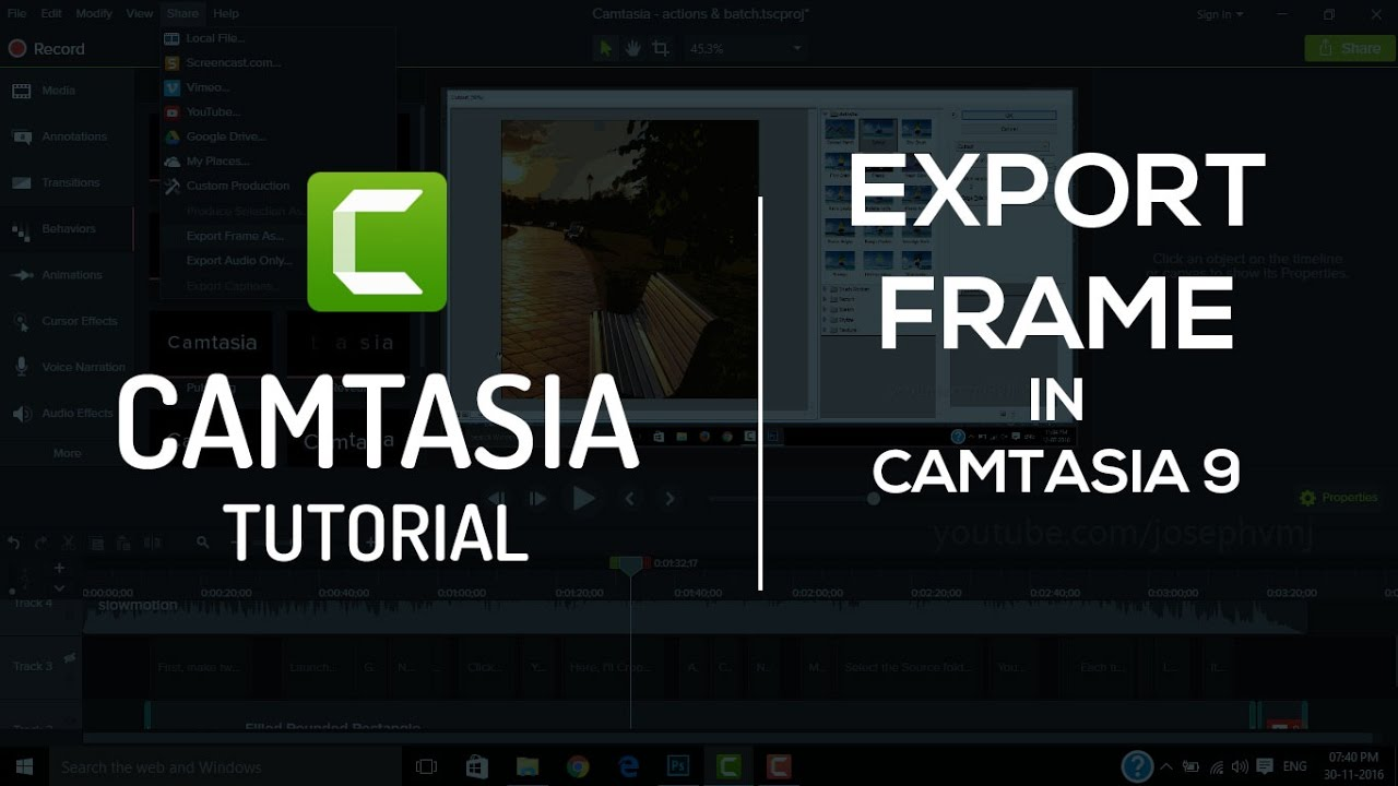 Export Frame in Camtasia 9 | Tutorial - YouTube