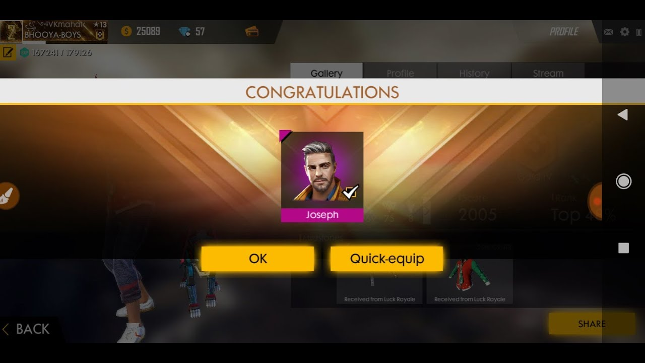 Top up 1 diamond for Joseph charater free / Free fire india