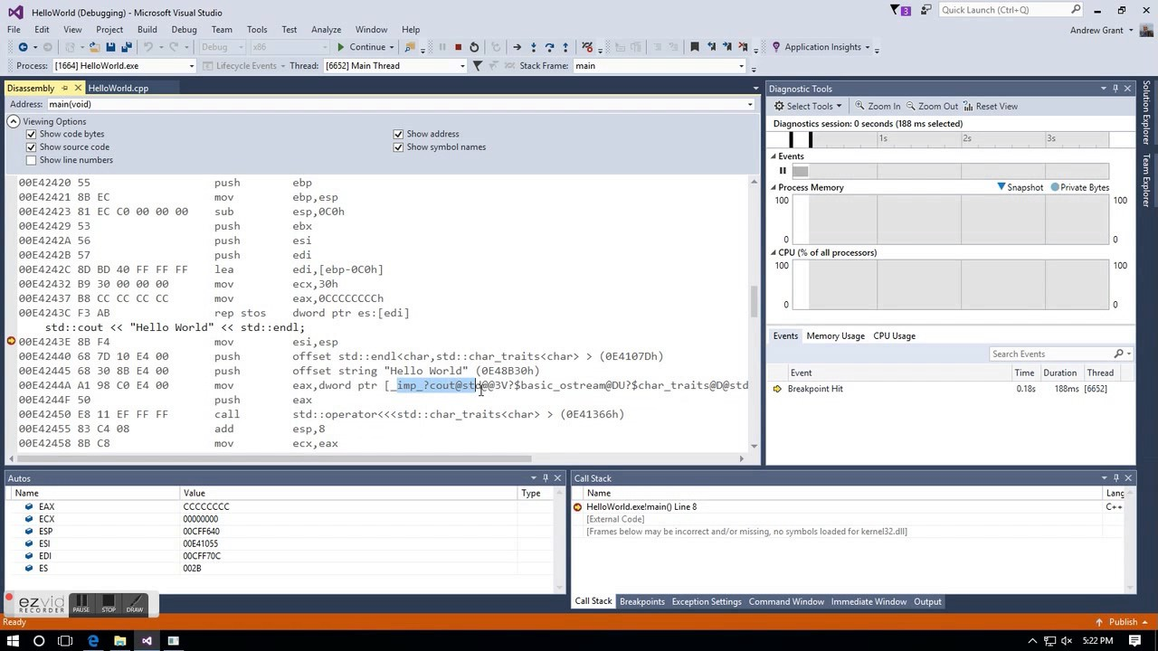 Viewing visual c++ assembly language code in Visual Studio 2015