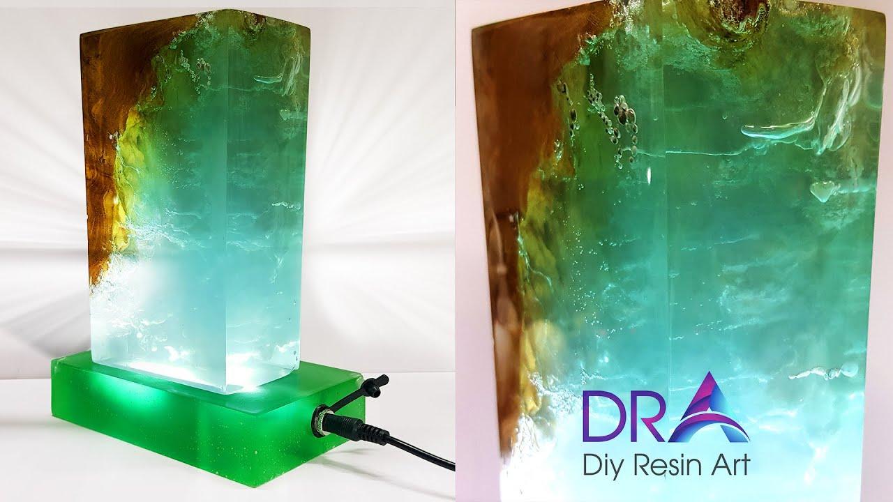 Easy making Epoxy Resin lamp Green Jade | Diy Resin Art