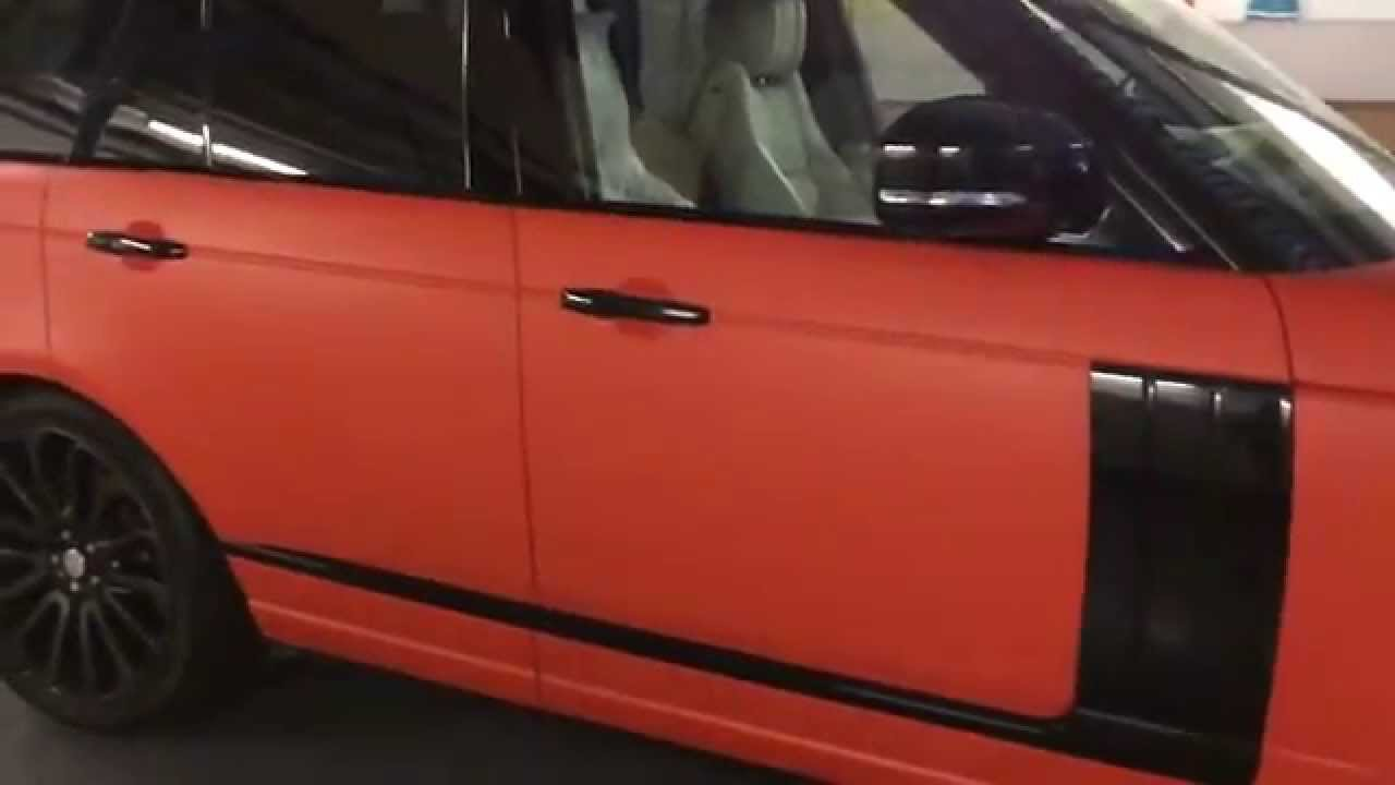 Land Rover Discovery Sport >> 2014 Range Rover Vogue 3M matt hot rod red wrap NV Motorspo - YouTube