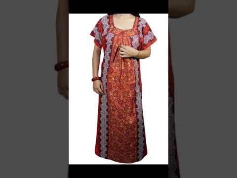 Daily Wear Cotton Maxi Nightgown For Women Night Sleep