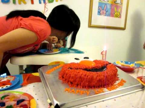 1 Year Old Birthday With Elmo Cake