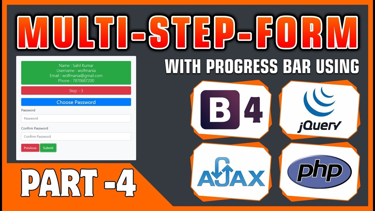 #04 Multi-Step-Form With Progress Bar Using Bootstrap 4, jQuery, Ajax & PHP  | Form Submission