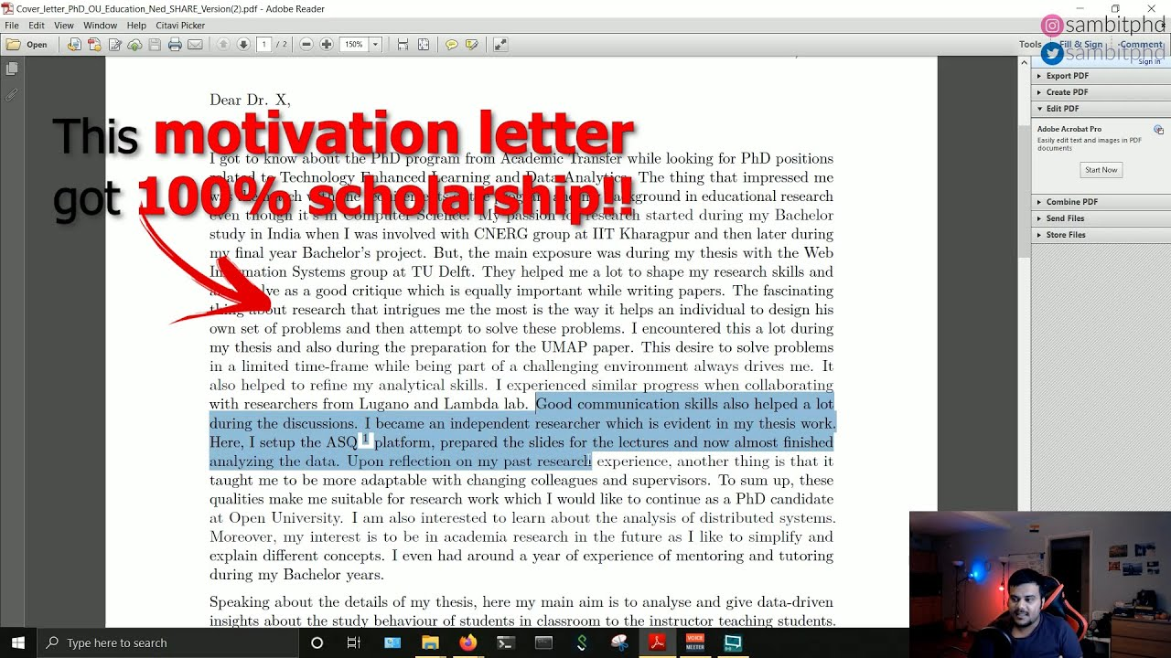 How To Write Successful Motivation Letter For Phd Youtube