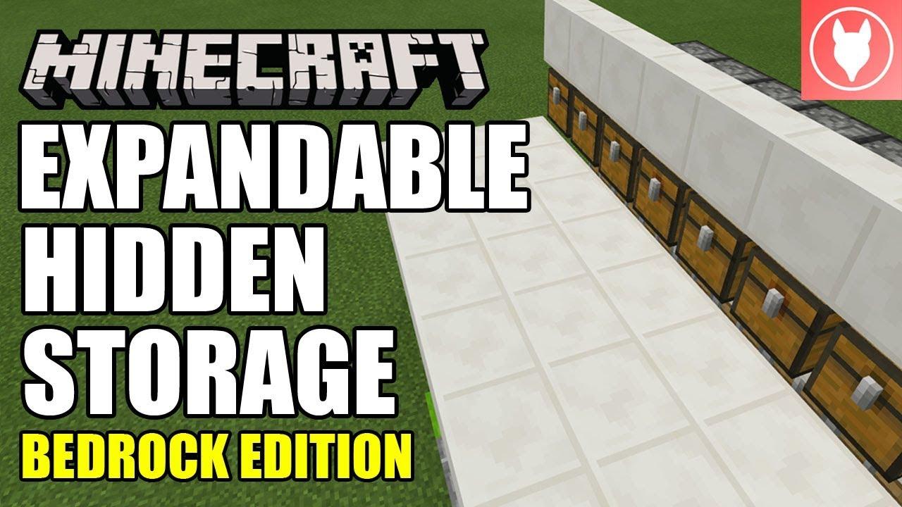 Minecraft Bedrock Expandable Hidden Storage System Tutorial Xbox