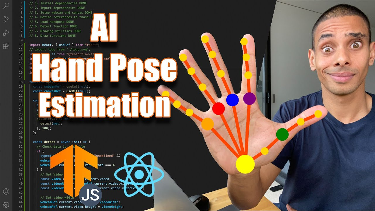Real Time AI Hand Pose Estimation with Javascript, Tensorflow.JS and React.JS