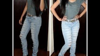 DIY (Faça você mesma) - Destroyed Jeans fácil por Laís Dias