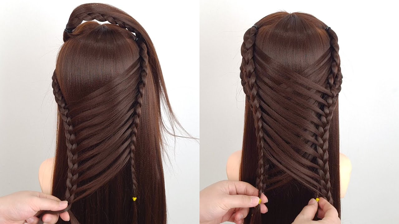 Cute open hairstyle for girls   Easy party wedding hairstyle   Braided hairstyle for birthday girl