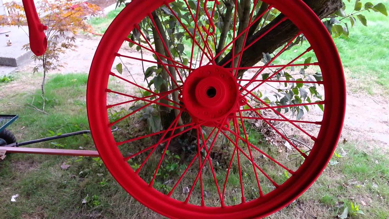 Red Powder Coat On Motorcycle Wheels Youtube