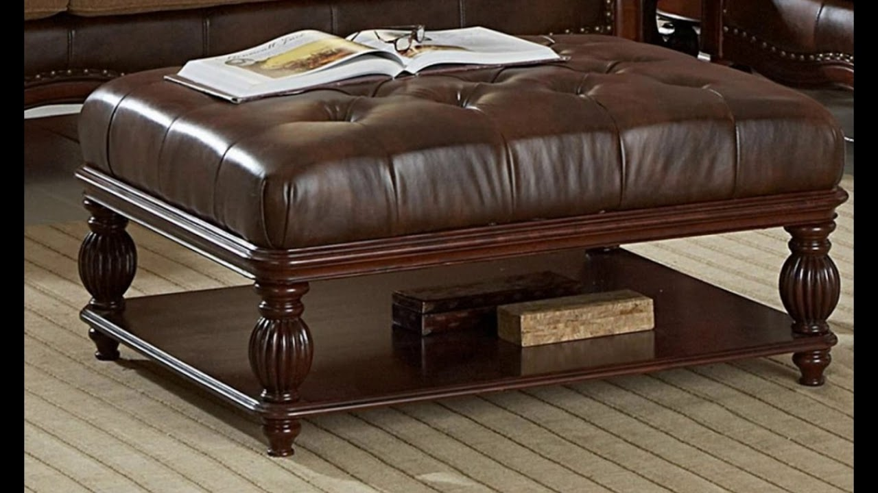 Cly Brown Leather Ottoman Coffee Table With Storage