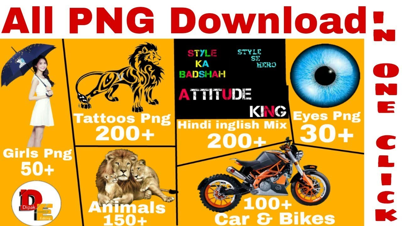 Download 700+ PNG in Zip File || Animals Png + Car & Bikes + Girls + Hindi English Text + Tattoo
