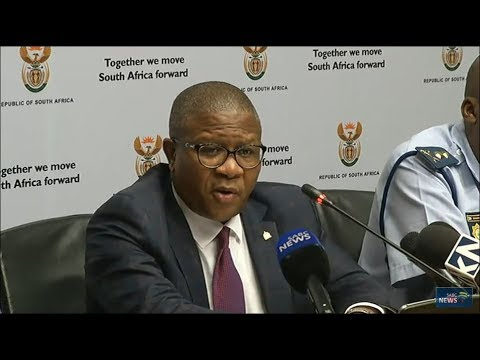 Fikile Mbalula briefs the media following release of crime s