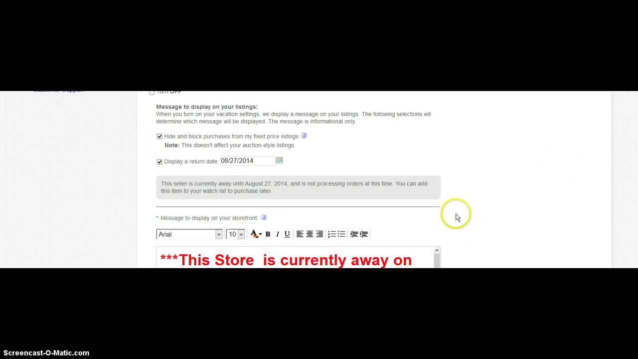 How To Put Ebay Store On Vacation Mode Ebay Vacation Settings Youtube