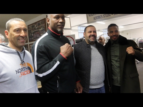LENNOX LEWIS & ANDRE WARD ARRIVE AT THE PEACOCK GYM IN LONDON AHEAD OF EUBANK JR v QUINLAN CLASH