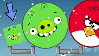 Angry Birds Kick Out Green Piggies - SQUARE PIG HELP GIANT ROUND PIG KICK OUT HUGE BIRDS!!