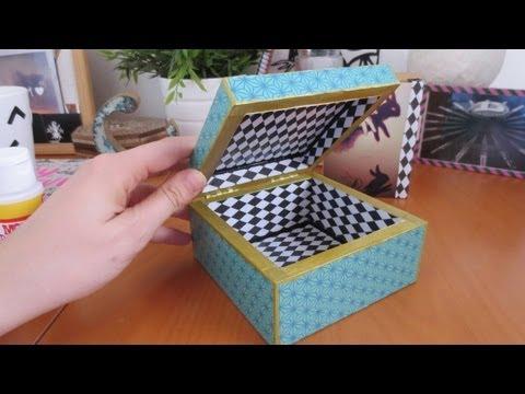 C mo hacer decoupage personaliza una caja con papel y mod - Como forrar una caja con tela ...
