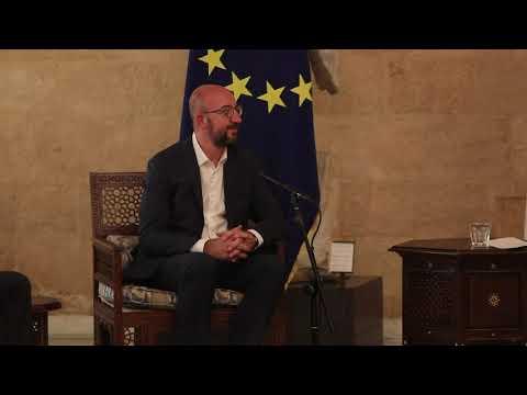 President Michel met President of Lebanon in Beirut as Lebanese protestors vent fury over port blast