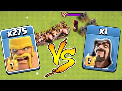 Max 275 Barbarian VS 1 Max Wizard  | Who Win! | Troll Raids | Clash Of Clans