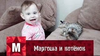 Маргоша с котёнком / ребёнок и бенгал / bengal baby