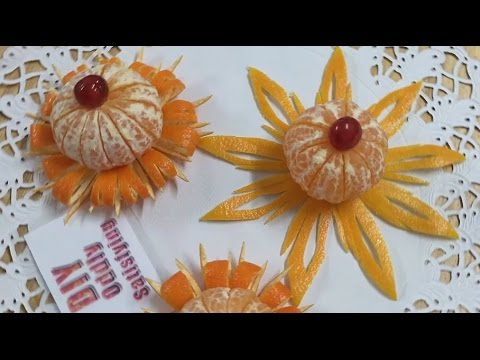 How To Create Beautiful Orange Mandarin Clementine Flowers - Fruit Carving Video For Beginners