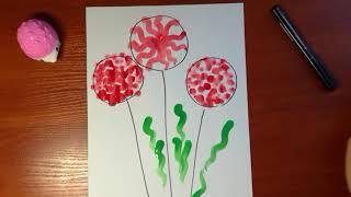 Рисование для детей 1-2 года / раннее развитие творчеством / Урок № 5 «Красные цветы»