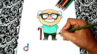 How to draw a Grandpa (easy!) | Coloring pages for children | Step by step drawings