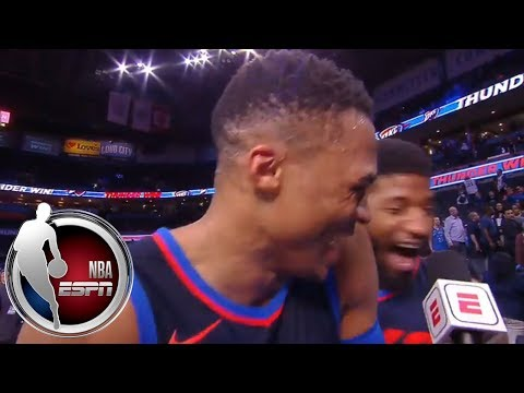 Paul George crashes Russell Westbrook's interview right as he's talking about him   ESPN
