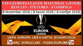 2018/2019 UEFA Avrupa Ligi 4. Hafta: Maç Sonuçları-Puan Durumu, Europa League Matchday 4 Results...