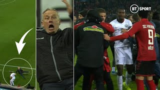 Insane Bundesliga brawl after manager is deliberately clattered by opposition player! 😱