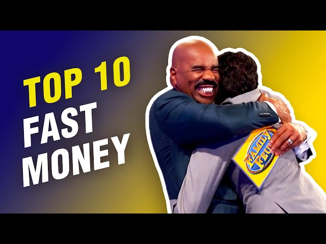 TOP 10 FAST MONEY SCORES from first players on Family Feud! STEVE HARVEY LOSES IT! (2020)