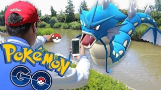 Pokemon GO - JUMPING INTO A RIVER TO CATCH A RARE POKEMON !!!