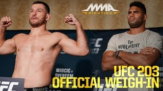 UFC 203 Official Weigh-In Video(All UFC 203 fighters in Cleveland except Michael McBride make weight. CM Punk made 170 pounds, while Mickey Gall reached 170.5. Stipe Miocic and Alistair ..., 2016-09-09T17:38:22.000Z)