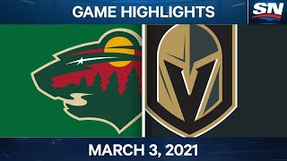 NHL Game Highlights | Wild vs. Golden Knights - March 03, 2021