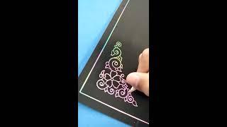 Kereeen..!! Membuat ornamen Kaligrafi pada kertas Pelangi tanpa sket