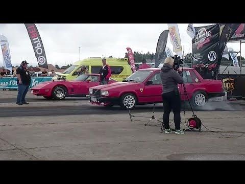 '84 Volvo 740 2.3 Turbo vs '80 Chevrolet Corvette C3 496cid 1/4 mile drag race