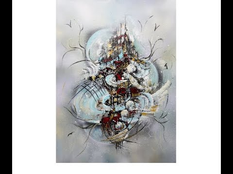 Acrylic Painting-Mixed Media/ABSTRACT/Demo/Acrylmalerei-Mischtechniken/V279/Foreign Worlds