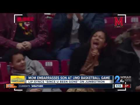 WATCH: Mom caught on jumbotron embarrassing son at UMD basketball game