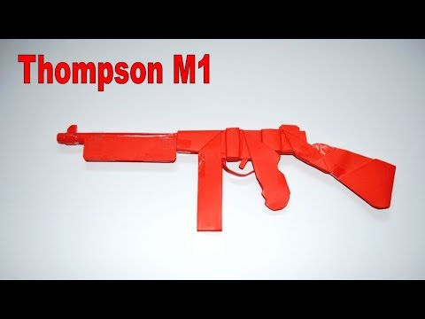 How to make a paper gun - Thompson M1 - DIY - paper toy - origami