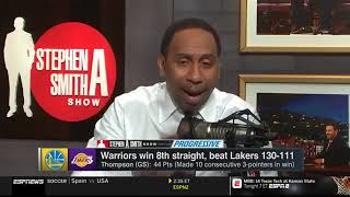 Stephen A. Smith reacts to Klay Thompson, Warriors win 8th straight, beat Lakers 130-111