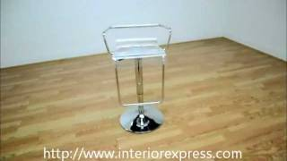 Interiorexpress Russell Chrome Acrylic Clear Adjustable Swivel Bar Stool