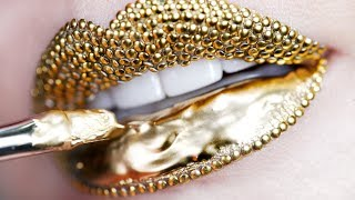 Makeup Tutorial Step by Step Using Gold Pigment & Studs | Lip Art thumbnail