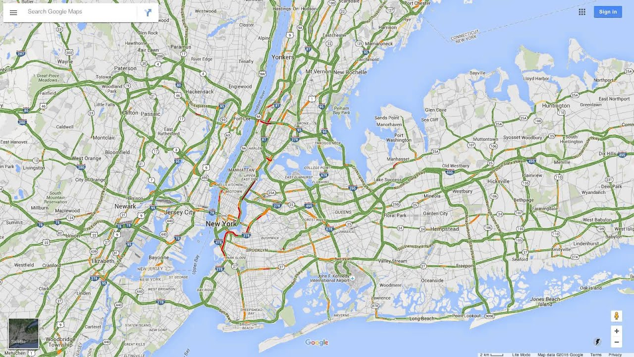 Google Map Of New York City.Test Time Lapse Of Google Maps Traffic New York City 7pm Midnight