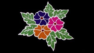 Easy Flower Rangoli Designs | Flower Kolam With 5x3 Middle Dots | Simple Flower Rangoli