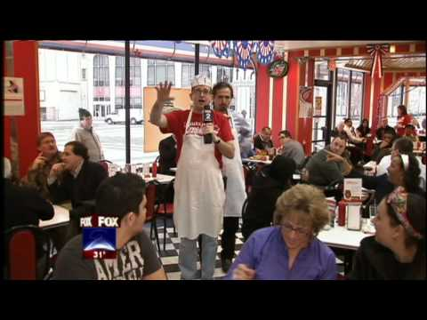 FOX 2's Charlie Langton and Charlie LeDuff working as celebrity servers at American Coney Island