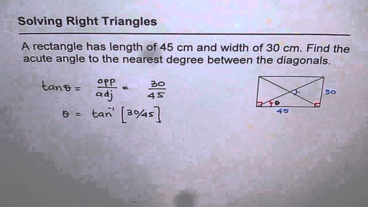 Find Acute Angle On Intersection Of Diagonal In Rectangle