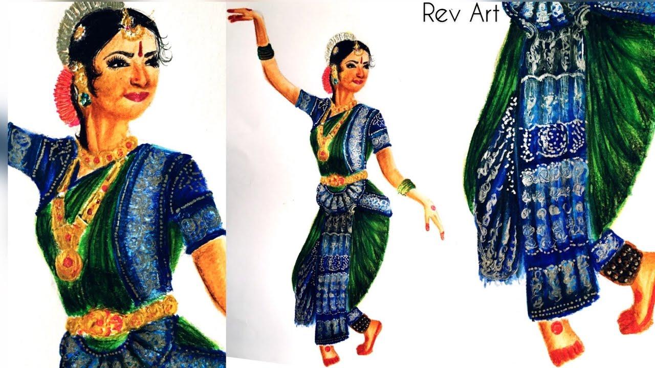 Bharatanatyam costume sketch |Using Staedtler Watercolor pencil | Rev Art